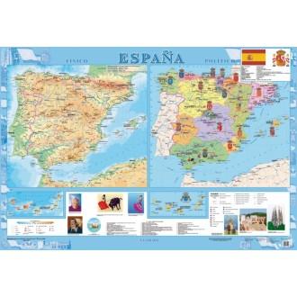 España. Фізична карта. Політико-адміністративна карта, м-б 1:1 600 000