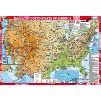 United States of America. Фізична карта, м-б 1:3 000 000