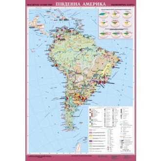 Південна Америка. Економічна карта, м-б 1:8 000 000 (на планках)
