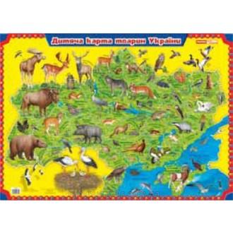 Плакат  Дитяча карта тварин України